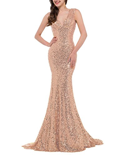 YSMei Women's V Neck Long Evening Prom Dresses Mermaid Sequin Formal Gown Backless Rose Gold 22W