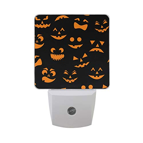 Scary Orange Halloween Pumpkin Carved Face Silhouette On Black Background Auto Sensor LED Dusk to Dawn Night Light Plug in Indoor for Kids Baby Girls Boys Adults Room