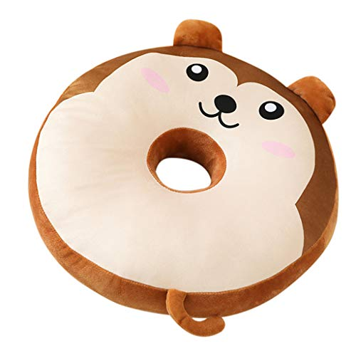 Binory 40x35cm Soft Animal Donuts Plush Pillow Stuffed Seat Pad Cute Animal Cushion Cover Case Toys for Office Release Home Bedroom Decoration Gift(Squirrel)