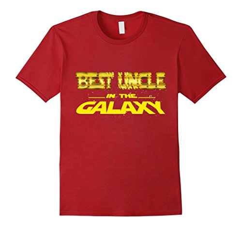 Mens Best Uncle In The Galaxy Funny T Shirt Cool Uncle Gift Large Cranberry