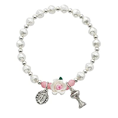 Cheap White & Pink Pearl Stretchable Bracelet With Chalice And Medal for sale