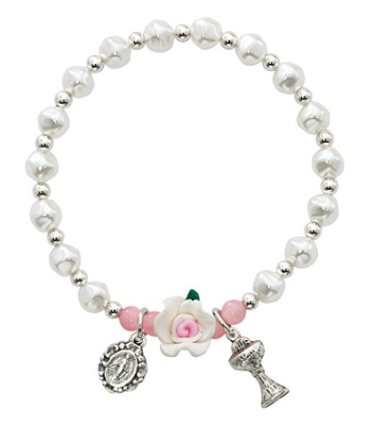 (White and Pink Imitation Pearl Stretch Bracelet with Silver Toned Chalice and Medal)