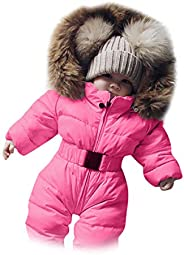 Sameno Infant Toddler Baby Girls Boys Winter Down Snowsuits Romper Jacket Hooded Jumpsuit Warm Thick Coat Outf