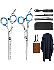 Hair Cutting Scissors Kits,10 Pcs Stainless Steel Hairdressing Shears Set Professional Thinning Scissors For Barber/Salon/Home/Men/Women/Kids/Adults Shear Sets