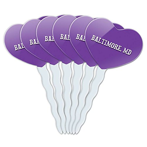 Purple Heart Love Set of 6 Cupcake Picks Toppers Decoration City State Ab-Bu - Baltimore MD (Party City Baltimore Md)