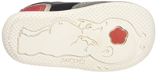Kickers Barney - Zapatos de primeros pasos Bebé-Niñas Noir (Noir/Gris/Rouge)
