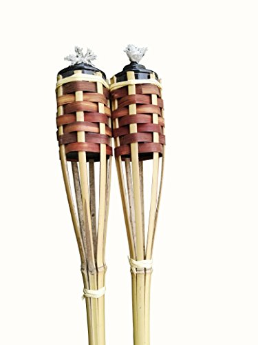 Mr.Garden Bamboo Torches – Set of 2 Includes Metal Oil Ca...
