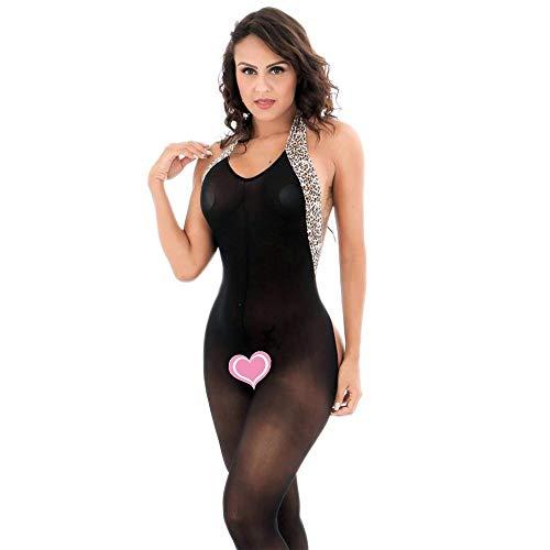 (Jelove Women's Sexy Fishnet Bodystocking Leopard Print Sheer Backless Bodysuit Lingerie)