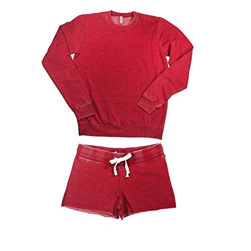 (Undie Couture Acid Wash Fleece Pajama Set (Washed Rose, Small))