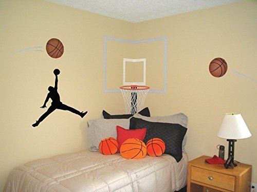 23 AIR Jordan Jumpman Logo Huge Wall Decal Sticker For Car Room Windows (23' inches (Black)