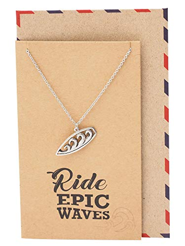 Quan Jewelry Surfboard Necklace, Ocean Waves Pendant Charm, Gifts for Beach Lovers Boho Look, Gifts for Surfer Girl, Silver Tone, Handmade with Inspirational Quote Card (Get Well Gift For 13 Year Old Boy)