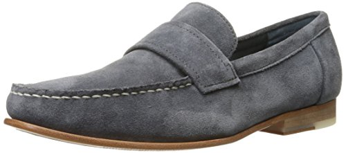 Calvin Klein Men's Baron Oily Suede Slip-On Loafer, Grey, 9 M US by Calvin Klein