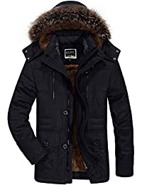 Men's Winter Warmth Thicken Casual Field Jacket with Removable Hood Coat Parka