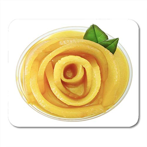 Mouse Pad Top View of Mango Cheesecake Sweet Dessert Consisting Cream Mousepad for Notebooks,Desktop Computers Mouse Mats, Office Supplies
