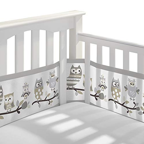 BreathableBaby Classic Breathable Mesh Crib Liner - Owl Fun Gray