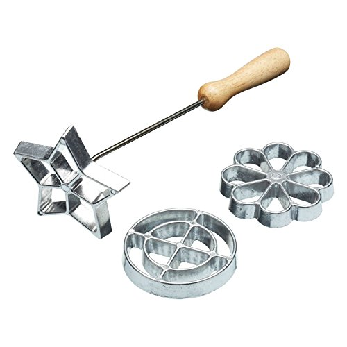Swedish Rosette Iron Set With 3 Interchangeable Heads (Rose Cookie Mold)