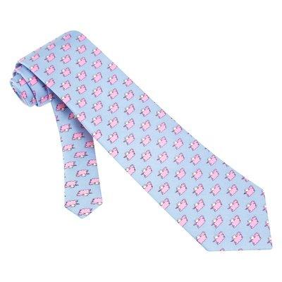 Pigs Fly Blue Silk Tie Necktie - Men's Animal Print Neck Tie (Ties Alynn Blue Silk Novelty)