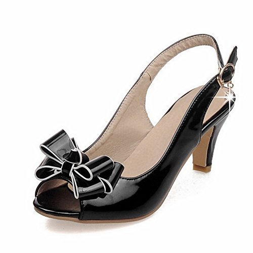 AllhqFashion Womens Buckle Peep Toe Kitten-Heels PU Solid Sandals With Charms Black J7Kpq