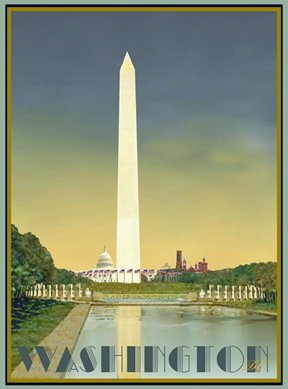 Washington D.C. Vintage Poster- Washington Monument by Aurelio Grisanty