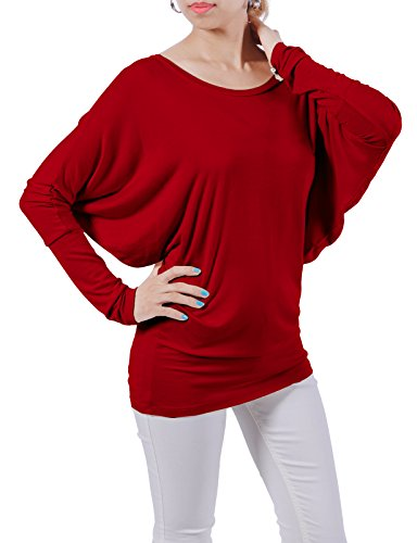 H2H Women's Dolman Style Long Sleeve Drape Jersey Top Tee RED US M/Asia M (CWTTL0183)