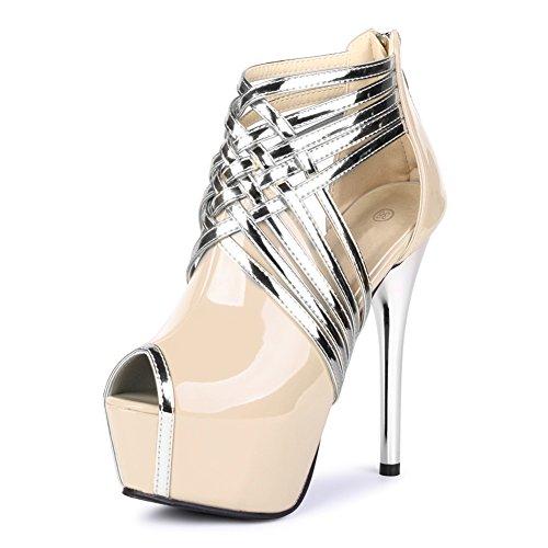 Peach Cocktail - fereshte Womens Sexy Peep-Toe Ankle Strappy Platform Stiletto High Heels Sandals PU Nude US 6.5