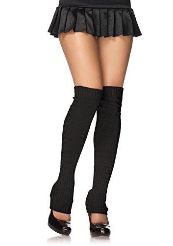 Long Knit Leg Warmers (Leg Avenue Women's Ribbed Knit Leg Warmers, Black, One)