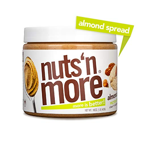 Nuts N More Almond Butter Spread, Keto, High Protein Nut Butter Snack, Low Carb, Low Sugar, Gluten-Free, All Natural, 16 oz Jar