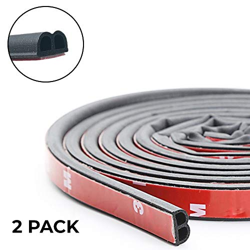 CANOPUS Car Door Seal Strip: Self Adhesive Car Door Weather Stripping, Rubber Seal Weatherstrip for Car Window Door Engine Cover (B Shape Total 2-Pack 32ft | 10M |)