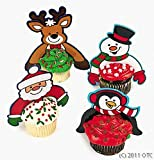 Plastic Christmas Character Cupcake Picks (Pack of 24)