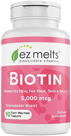 EZ Melts Biotin for Hair, Skin, Nails, 5,000 mcg, Sublingual Vitamins, Vegan, Zero Sugar, Natural Strawberry Flavor, 90 Fast Dissolve Tablets