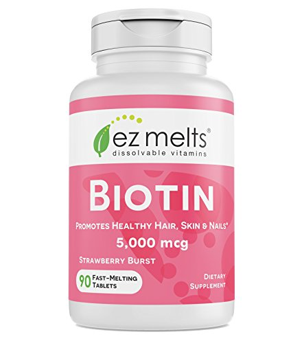 Sublingual 5000 Tablets Mcg (EZ Melts Biotin for Hair, Skin, Nails, 5,000 mcg, Sublingual Vitamins, Vegan, Zero Sugar, Natural Strawberry Flavor, 90 Fast Dissolve Tablets)