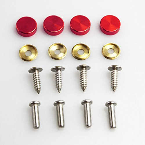 Set of 4 Anti Rust Resistant Stainless Steel Screw+Red Aluminum Screw Caps not plastic cap for License Plate frame