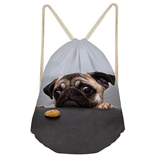 - Upetstory Cute Pug Dog Drawstring Gym Bag for Kids Boys Girls Teens, Cinch Gift Backpack for Travelling, Hiking, School and Party