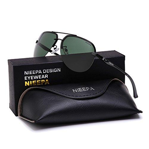 NIEEPA Polarized Aviator Sunglasses Men Women Half Frame Spring Hinges Sun Glasses Dark Green Lens/Black Frame