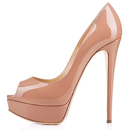 Onlymaker Women's Sexy High Heels Peep Toe Slip On Platform Pumps Stiletto Dress Party Wedding Shoes Nude US6
