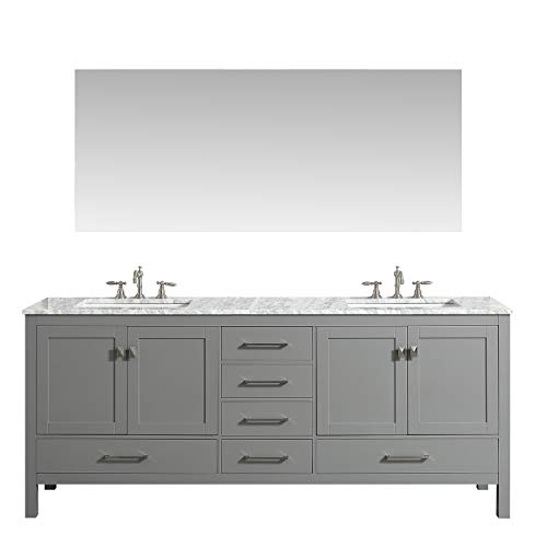 Eviva EVVN412-72GR Aberdeen 72 Transitional Grey Bathroom Vanity with White Carrera Countertop Double Square Sinks Combination,