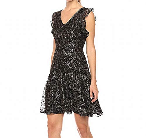 Tommy Hilfiger Women's Gold Floral Mesh Lace Dress with Flutter Sleeve, Black, 2]()