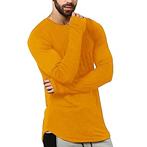 PAUSE Mustard Solid Round Neck Slim Fit Full Sleeve Men's T-Shirt