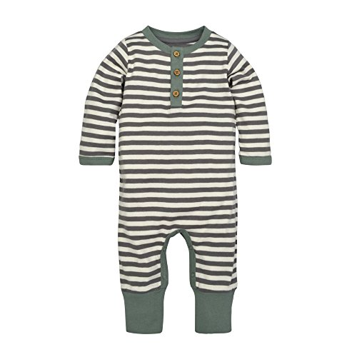 Burt's Bees Baby Baby Boys' Romper Jumpsuit, 100% Organic Cotton One-Piece Coverall, Charcoal Mushroom Fields Henley, 0-3 Months