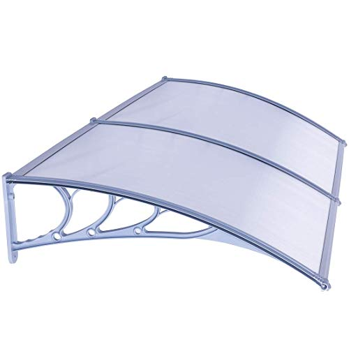 VIVOHOME Polycarbonate Window Door Awning Canopy Grey 40 Inch x 80 Inch Renewed