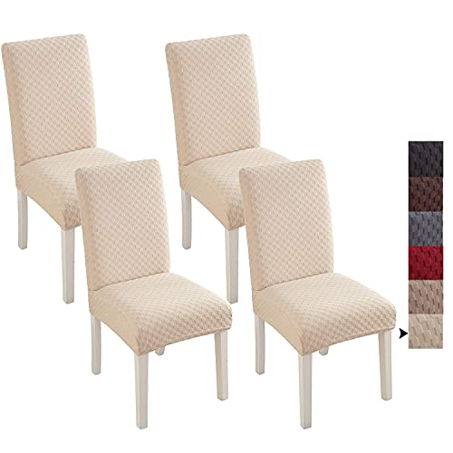 ZHZJ Chair Cover for Dining Room Set of 4,Dining Chair Slipcovers,Parsons Dining Chair Seat Covers for Kitchen Stretch Removable Washable,Beige 4