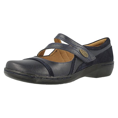Ladies Clarks Mary Jane Velcro Flat Leather Shoes Evianna Crown Blue
