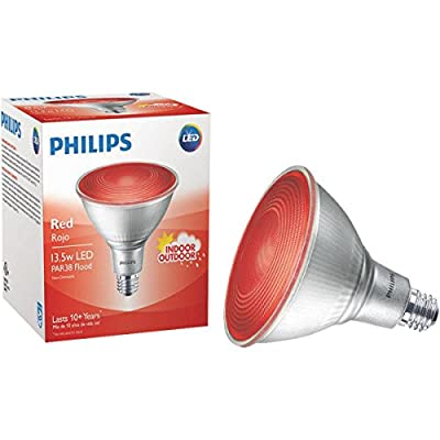 Philips Non-Dimmable 13.5W Red 40° PAR38 LED Bulb, Outdoor and Enclosed Fixture Rated