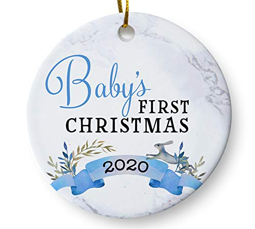 Baby Boy First Christmas Ornament 2020, Newborn Son Gift, Holiday Keepsake for New Parents 3 Inch Flat Ceramic Ornament with Gift Box