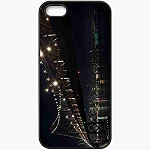 Protective Case Back Cover For iPhone 5 5S Case Bridge Night December Winter Black