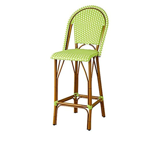 Amazon Com Resin Wicker High Back Outdoor Bar Stool Green White