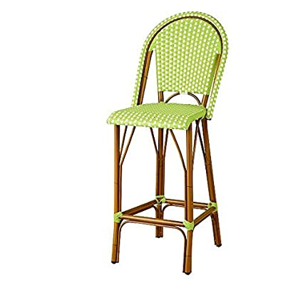 Superb Amazon Com Resin Wicker High Back Outdoor Bar Stool Green Bralicious Painted Fabric Chair Ideas Braliciousco