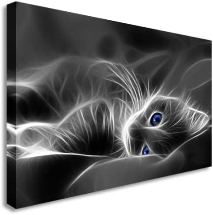 Pussy Cat Kitten Blue Eyes Abstract Wall Picture Canvas Art Cheap Print