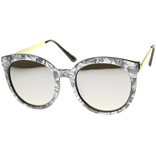zeroUV Women's Oversized Marble Finish Metal Temple Mirrored Lens Round Sunglasses, Charcoal Gold / Silver Mirror, 55 - Finish Silver Sunglasses Mirror