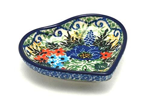 Polish Pottery Tea Bag Holder - Heart - Unikat Signature - U4695